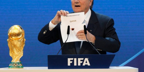 FIFA President Joseph Blatter announces Qatar to host the 2022 World Cup during the announcement of the host country for the 2022 soccer World Cup in Zurich, Switzerland, Thursday, Dec. 2, 2010. (AP Photo/Anja Niedringhaus)